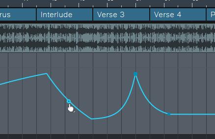 Sobald man mit der Maus über eine Hüllkurve fährt, erscheint ein Anfasser, mit dem sich die Kurve bearbeiten lässt