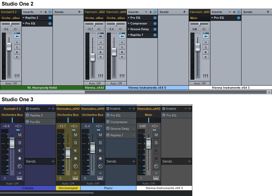 Ausgeklappte Mixer-Kanalzüge in Studio One 2 und 3 im Vergleich