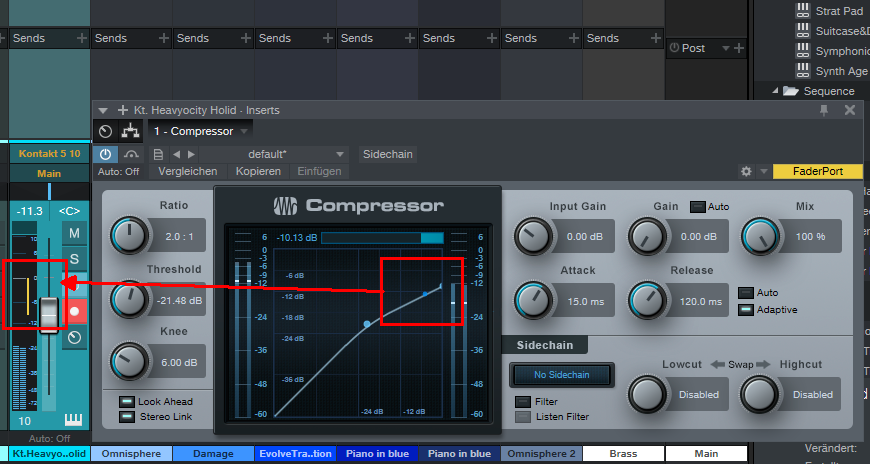 Benutzt man Studio-One-interne Dynamik-Tools wie Kompressor oder Limiter, wird die Gain-Reduction im Mixer visualisiert