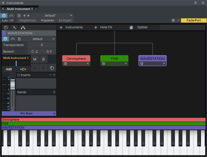 Im Instrumenten-Combinator kann man beliebige Instrumente und NoteFX miteinander verschalten