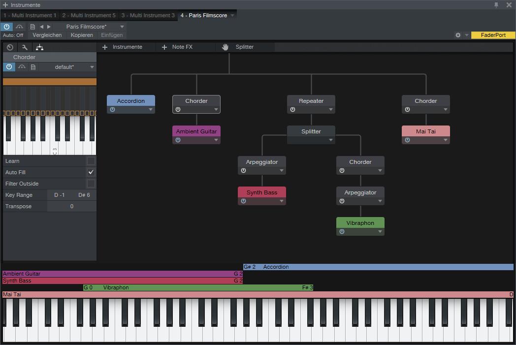 Ein Multi-Instrument mit diversen NoteFX und verschiedenen Layer- und Split-Sounds