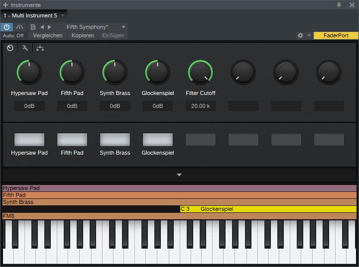 Mit den Macro Controls kann man auf mehrere Parameter von Instrumenten, Effekten oder NoteFX zugreifen