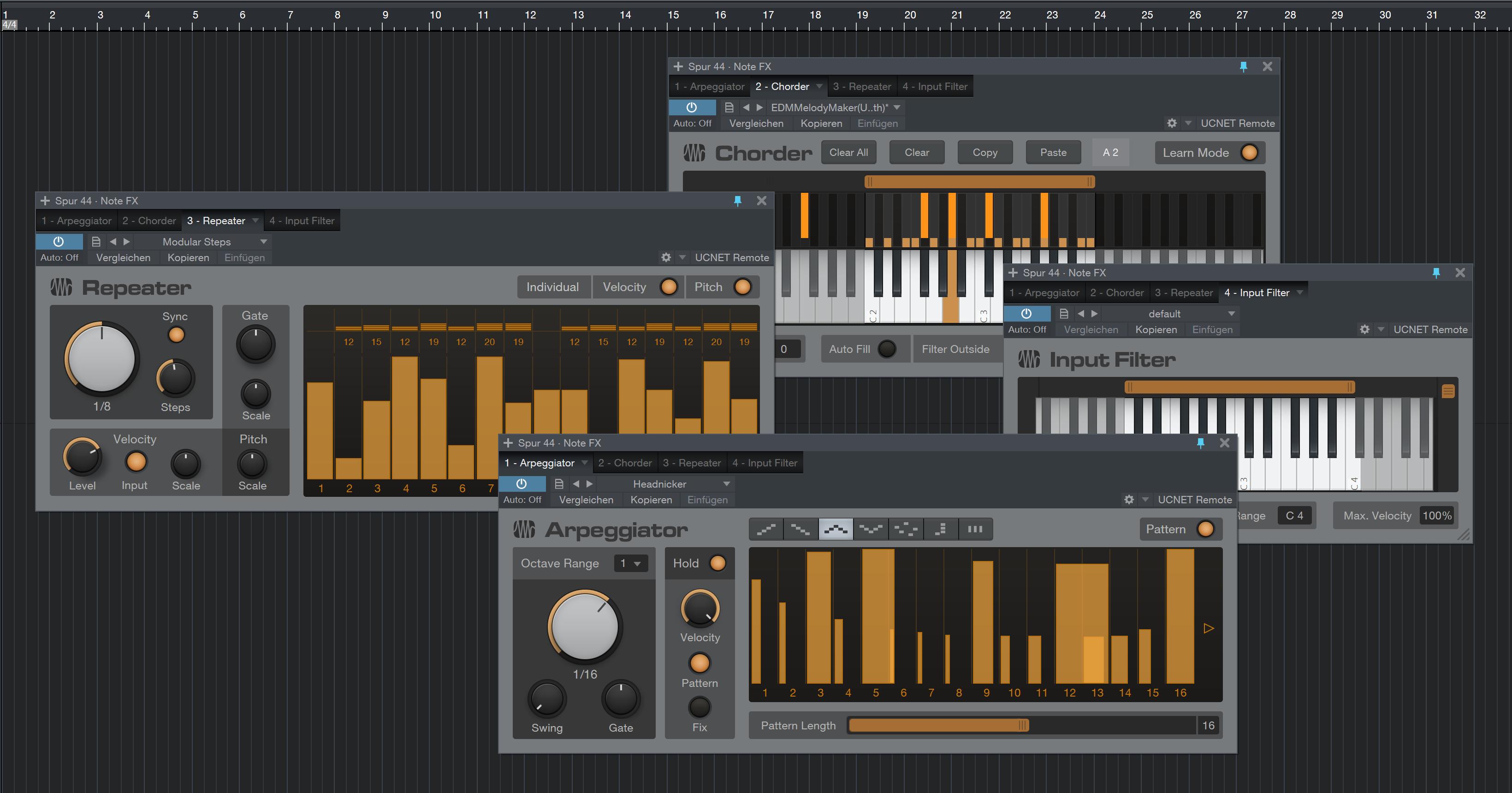 Vier NoteFX werden mit Studio One 3 mitgeliefert