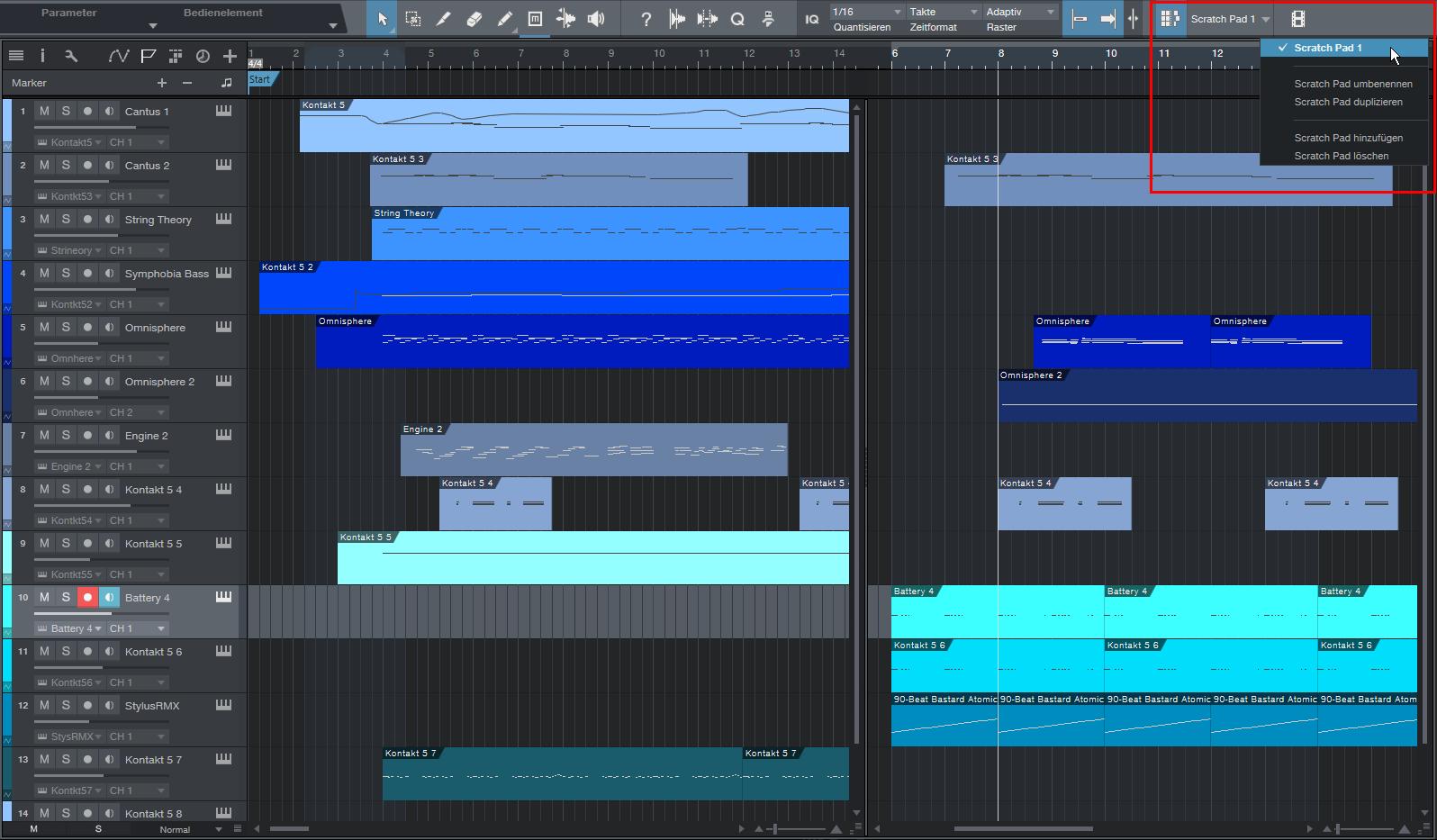 Das Scratch Pad eignet sich zum Ausprobieren von Songskizzen oder alternativen Songteilen