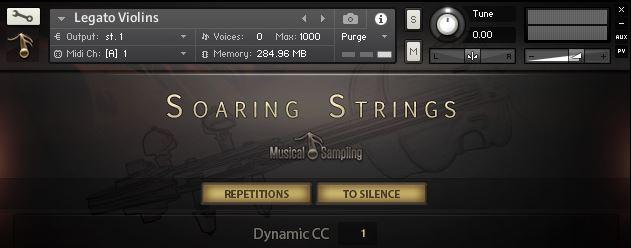 Benutzeroberfläche der SOARING STRINGS von MusicalSampling