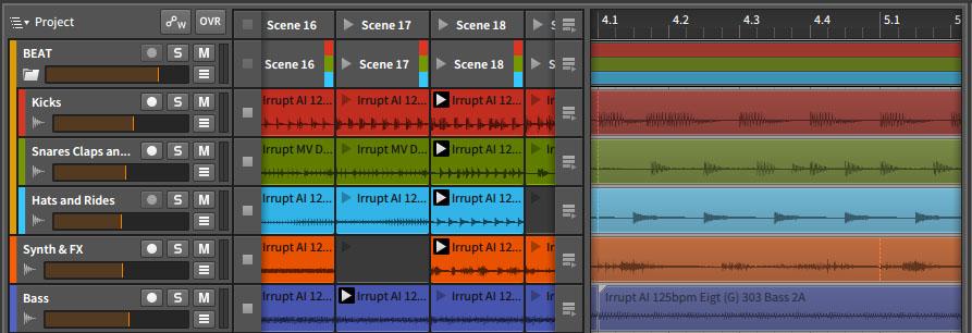 Clip- und Sequenzer-Ansicht nah beieinander