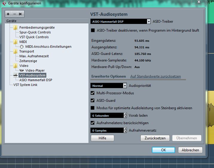 RME Hammerfall DSP / Cubase- Grenze | Recording.de